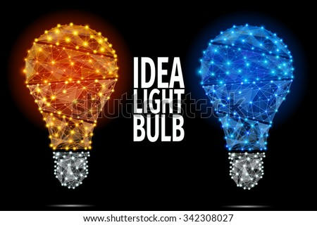 Vector light bulb icon with concept of idea. Abstract Polygonal Illustration. - stock vector