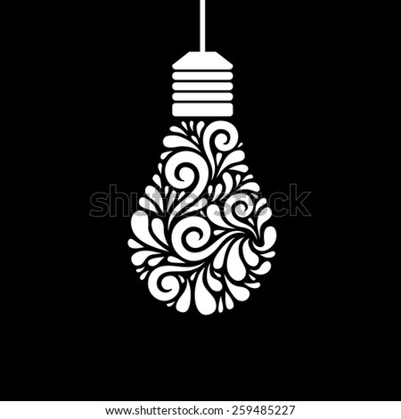 Vector light bulb icon with concept of idea. Original sign of creativity. Illustration for print, web - stock vector