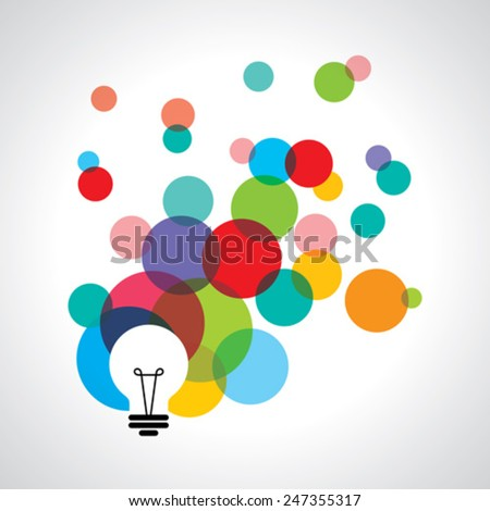 Vector light bulb icons with concept of idea.  - stock vector