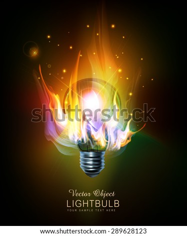 vector light bulb with a burning fire - stock vector
