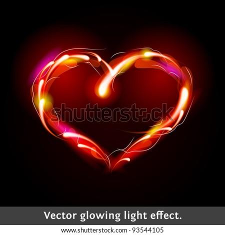 Vector light effect heart - stock vector