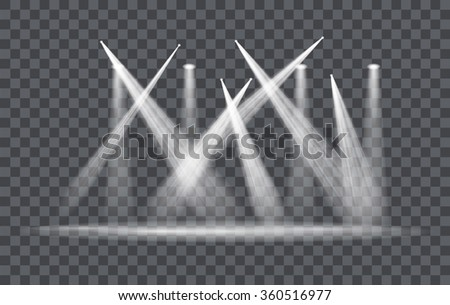 Vector Light Effect Spotlight with Transparent Background - stock vector