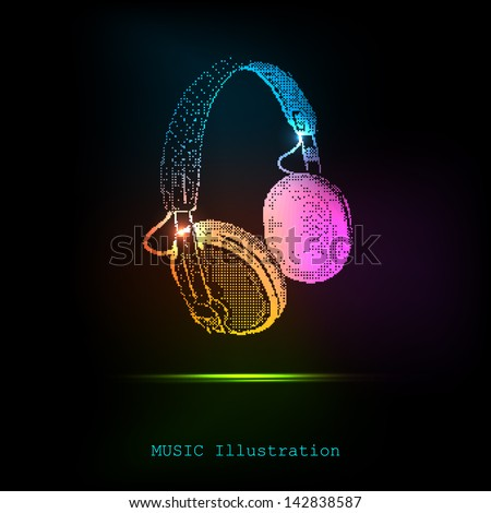 Vector Light Headphones, easy all editable - stock vector
