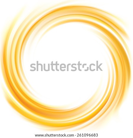 Vector light ocher whirl ripple backdrop with space for text. Beautiful curl fluid surface bright hot amber color. Circle mix of pure fresh sweet carrot, apricot, lemon dessert syrup as eddy caramel  - stock vector