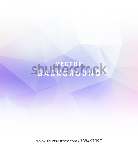 Vector light purple abstract polygonal background. Smooth edges on white - stock vector