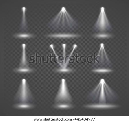 Vector light sources, concert lighting, stage spotlights set. Concert spotlight with beam, illuminated spotlights for web design illustration - stock vector