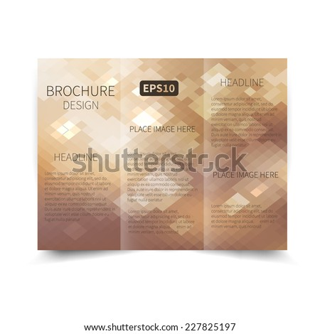 Vector light tri-fold brochure design template with abstract geometric background EPS10 Tri-Fold Mock up & back Brochure Design  - stock vector