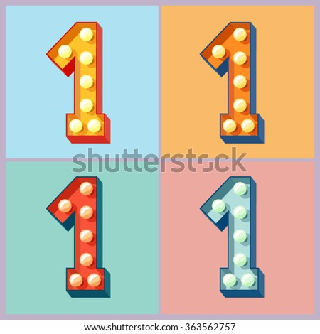 Vector light up colorful flat lamp alphabet. Number 1 - stock vector