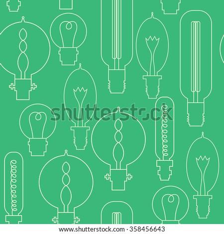 Vector Lightbulb seamless pattern. Modern idea innovation light bulb concept. Lamp icons, thin line style, flat design. Vector illustration. - stock vector