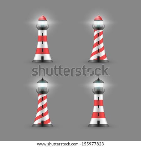 Vector lighthouse illustration. Icon set. - stock vector