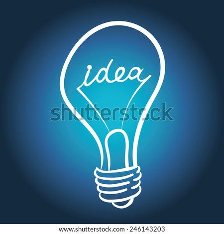 vector lighting bulb with IDEA hand lettering - vector idea concept - stock vector