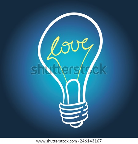 vector lighting bulb with LOVE hand lettering - vector idea concept - stock vector