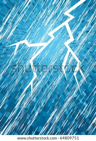 Vector lightning in night sky with rain - stock vector