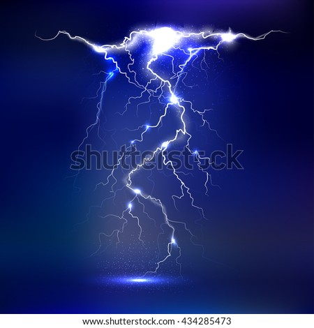 Vector lightning - isolated on blue background, luminous light effects - stock vector
