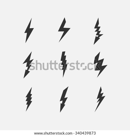 Vector lightning silhouette. Lightning Bolt icon. Set of black icons storm lightning. Thunderbolt silhouettes. Set of Thunder Lighting Icons. Lightning bolt vector. Lightning strike icon. - stock vector