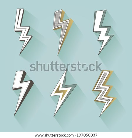 vector lightning silhouettes - stock vector