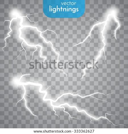 Vector lightnings. Set. Light Effects - stock vector