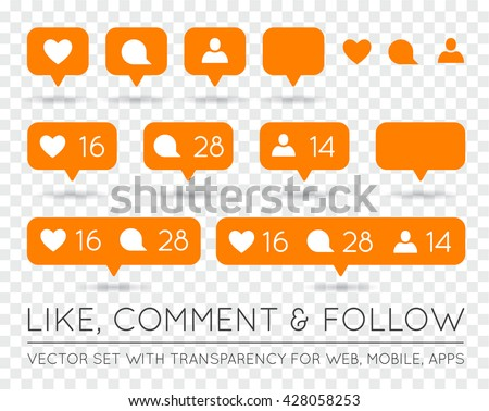 Vector Like, Follower, Comment Icon Set - stock vector