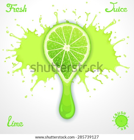 Vector lime juice splash with stylized crush slice - stock vector