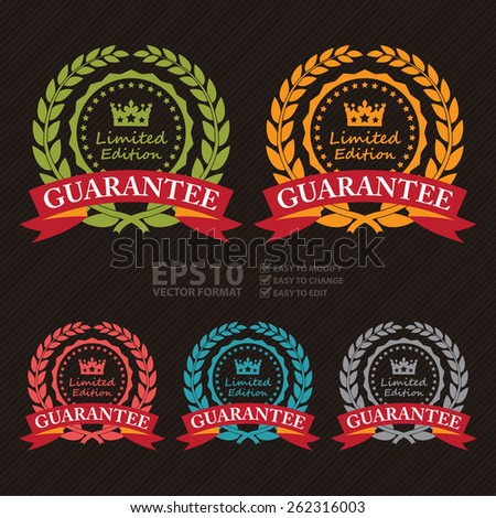 Vector : Limited Edition Guarantee Wheat Laurel Wreath, Ribbon, Label, Sticker or Icon - stock vector