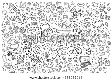 Vector line art Doodle cartoon set of objects and symbols on the Social Media theme - stock vector
