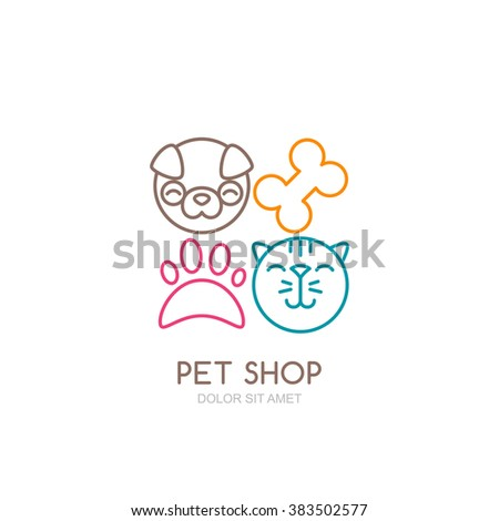 Vector line art illustration of dog head and cat muzzle. Simple logo icons design. Trendy concept for pet shop, pets care and grooming, veterinary.  - stock vector