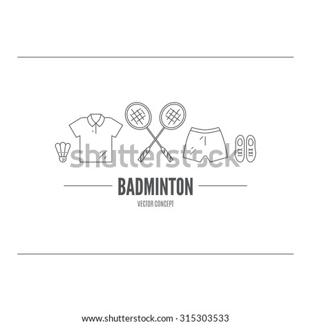 Vector line concept of badminton. Sport logo. Modern black and white template with racket, sportswear and shuttlecock. - stock vector
