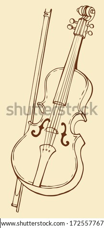Vector line drawing of a violin and bow - stock vector