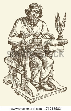 Vector line drawing of an ancient chronicler with a pen and a sheet of parchment at his desk  - stock vector