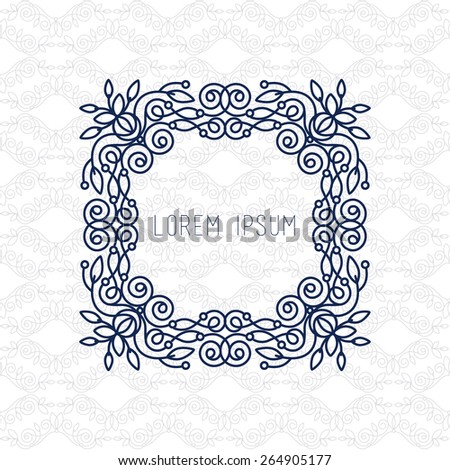 Vector line frame design elements with space for logos, ornament and decoration, emblem, logo, background, frames and borders in modern style, use any color, floral for you logotype. - stock vector