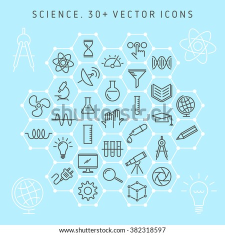 Vector line icon set of science lab and scientific research equipment. Science laboratory and symbols collection: atom, molecule, microscope, chemical lab, gene, globe, telescope, electronics, etc. - stock vector