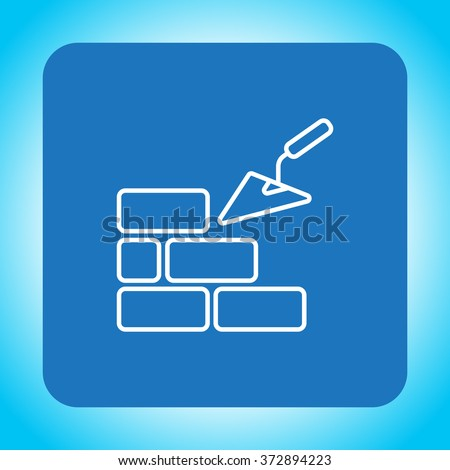 Vector line icons brickwork and building trowel - stock vector