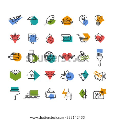 Vector line icons' set with color geometrical accents. Web, travel, money, shopping, love, mail, lifestyle thematic collection.  - stock vector