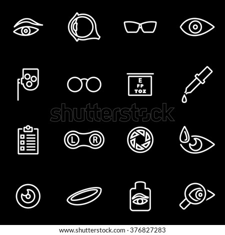 Vector line optometry icon set. Optometry Icon Object, Optometry Icon Picture, Optometry Icon Image - stock vector - stock vector