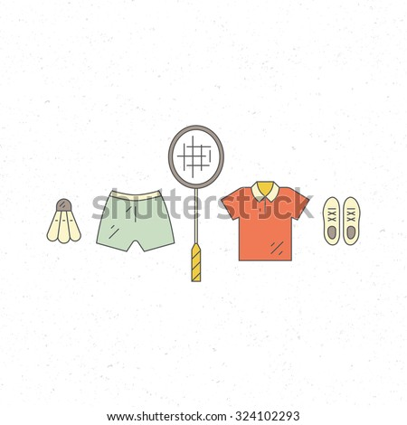 Vector line set of badminton uniform. Sport linear design element with racket, shuttlecock and sportswear. - stock vector