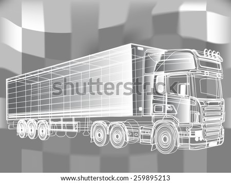 Vector line truck, drafted white lines on an abstract background. - stock vector