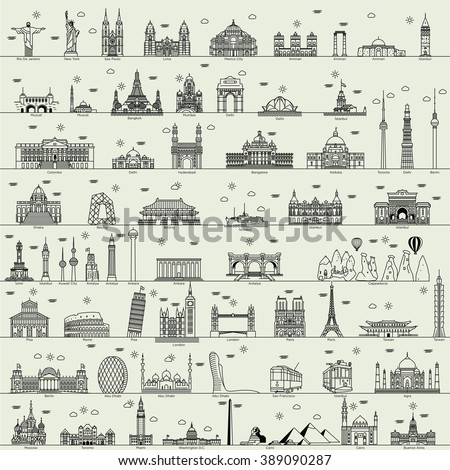 vector line world city illustration sign building set collection  - stock vector