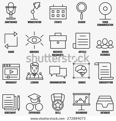 Vector linear business education icons - part 1 - vector icons - stock vector