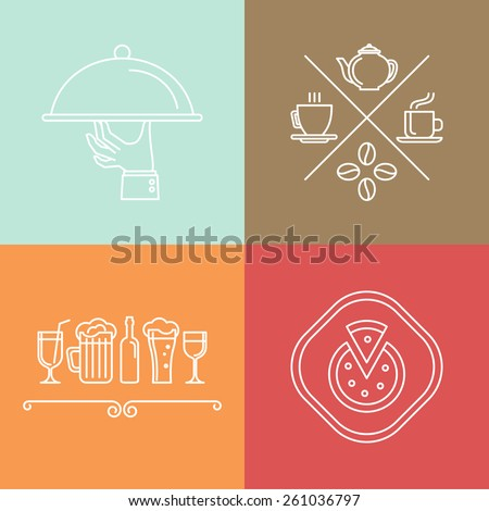 Vector linear catering and cafe icons and logo design elements  - stock vector