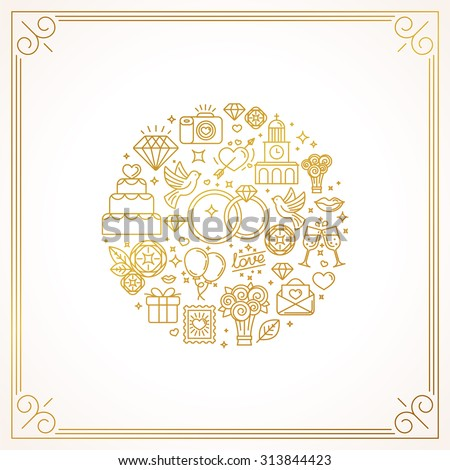 Vector linear concept and illustration for wedding invitations - abstract design template with icons related to love and marriage - golden lines on white background  - stock vector
