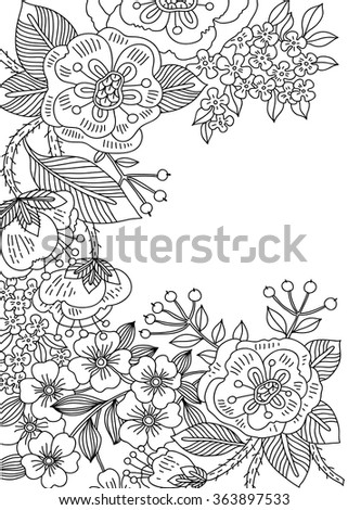 vector linear floral background - stock vector