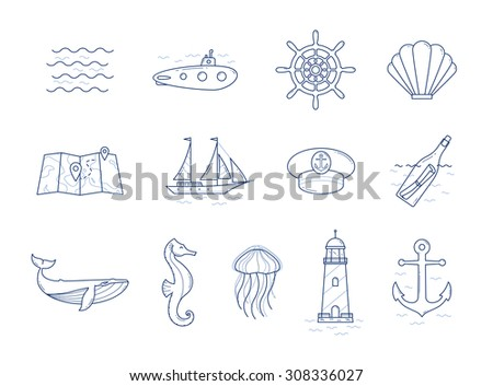 Vector linear icon set. Sailing, sea life, whale, seahorse, jellyfish, boat, submarine, lighthouse, seashell icons. - stock vector