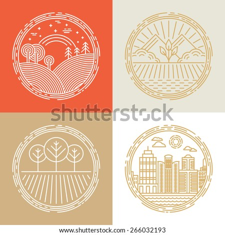 Vector linear icons and logo design elements with landscapes - travel concepts - stock vector