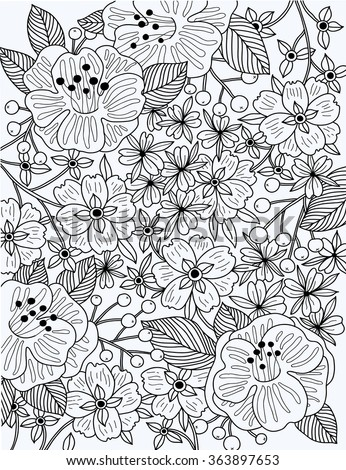 vector linear  illustration of blooming flowers and plants. Can be used as a coloring book template - stock vector