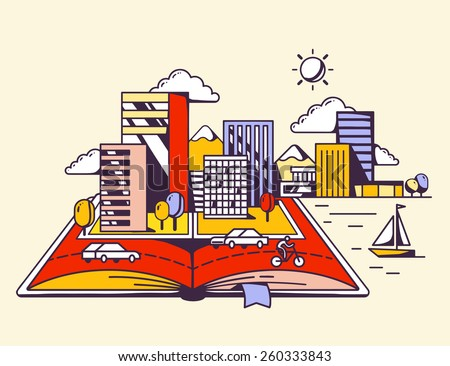 Vector linear illustration of cartoon open book with modern city on yellow background. Color hand draw line art design for web, site, advertising, banner, poster, board and print. - stock vector