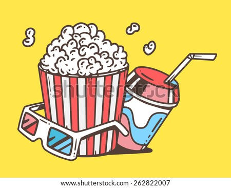 Vector linear illustration of pop corn with juice and anaglyph glasses for 3d on yellow background. Classic color hand draw line art design for web, site, advertising, banner, poster, board and print. - stock vector