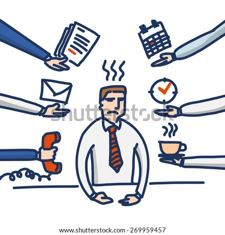vector linear illustration of stressed and depressed businessman under pressure in his office | simple modern flat design colorful cartoon icon isolated on white background - stock vector