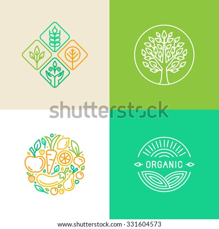 Vector linear logo design template and badges - organic food and farming - green and vegan food concepts - stock vector