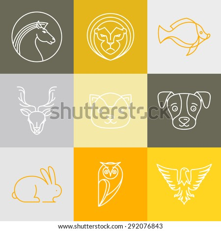 Vector linear logos and signs - animals heads in outline style - stock vector