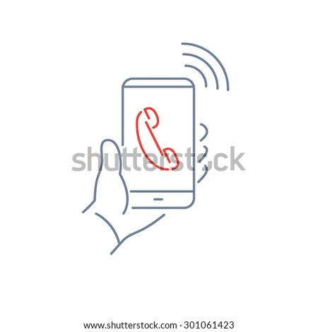 Vector linear phone and technology icons with hand phone call gesture holding phone in one hand | flat design thin line modern grey and red illustration and infographic on white background - stock vector